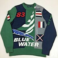 Nautica Men's Crew Neck Sweater Blue Water 83' Green Blue White Gray