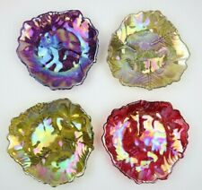 Carnival Style Iridescent Triangular Floral Patterned Plate set of 4