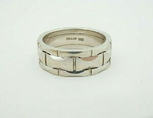 Millan 14k White Gold 8mm Wedding Band Mens Ring Size 10