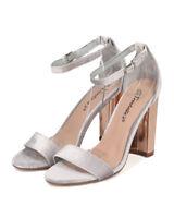 New Women Breckelles Devie-04 Velvet Open Toe Ankle Strap Chunky Heel Sandal