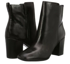 Aldo Size 7 40 Quria Black Real Leather Block Heel Ankle BOOTS