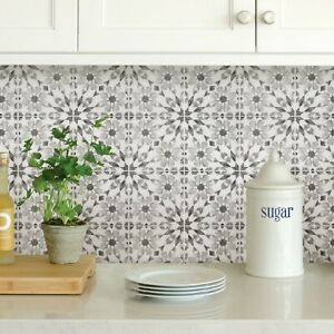 Wallpops Catalan Gray and White Peel and Stick Backsplash Tiles Contemporary
