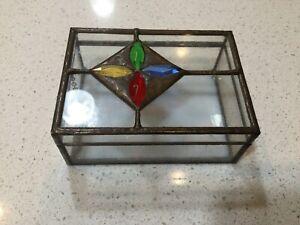 Trinket Box Stained Glass Diamond Pattern Gold Trim Rectangle