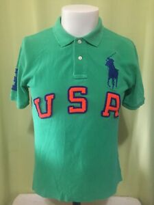 Polo Ralph Lauren USA #3 Youth Green Polo Shirt Size Large 14/16