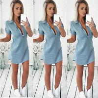 Women's Bodycon Slim Jeans Denim Dress Ladies Casual Beach Short Mini Dress Tops