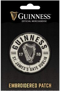 Guinness Bottle Top iron-on / sew-on cloth patch 65mm x 65mm