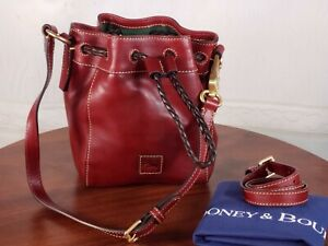 Dooney & Bourke - Mini Hattie Florentine Leather Drawstring Bag - Bordeaux Red