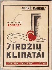 AVANT-GARDE Cover KOSTIUŠKOS Širdžių Klimatai Andre MAUROIS Book LITHUANIA 1930