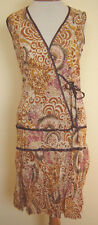 New_Very Pretty Floral Print Cotton Sleeveless Crossed Front Dress_sizes S, M
