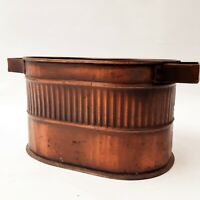 Small Oval Brass Container Ribbed Trinket Box w/ Handles