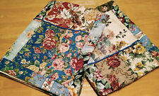 JCPenney Floral Roses Patchwork Quilted Cotton Standard Shams Blue Piping