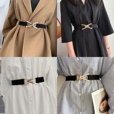 Gold Silver Triangle Buckle Skinny Wide Elastic Adjustable Waist Belt Women
