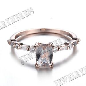 Solid 10K Rose Gold Brilliant 7x5mm Emerald Genuine Morganite Real Diamonds Ring