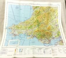 1983 Military Map of Wales Cardiff Swansea RAF Helicopter Pilot Aviation Chart