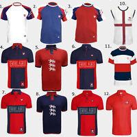 Men's Summer England Football T-shirt Polo Shirt Footy Sports Top World Cup M-XL