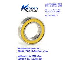 ROULEMENT A BILLES 17X30X7 CERAMIQUE SI3N4 INOX 6903 2RS (1pc) CYCLISME VELO