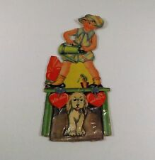 """Vintage 1940's Valentine Card Girl Watering Can Dog Mechanical 6 1/8"""" x 2 1/4"""""""