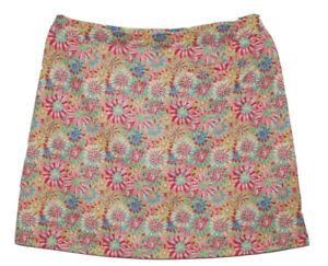 Peter Millar Golf Skort Skirt Size L Pink Floral Colorful E4 Wicking UPF 50+