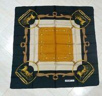 Vintage Scarf CELINE Equestrian Black Beige Mustard 100%Twill Silk 85cmx85cm