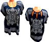 Lavish blue floral victorian print spandex stretch open back short sleeve top 1X