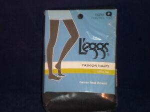 L'eggs Fashion Tights Size Large  (Q) Black Chic Tie                       L12-1