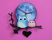 Owl with Baby Blue Moon - Pendulum Wall Clock