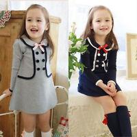 Kids Toddler Girls Princess Long Sleeve Tutu Skater Dress Preppy School Clothes