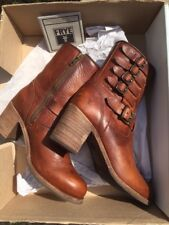 Classic Frye Women's Leather Motorcycle Biker Harness Ankle BOOTS Size UK 8 M