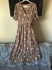 Anthropologie Maeve Dress Size 10 Breanna Brown White Polka Dot Wrap