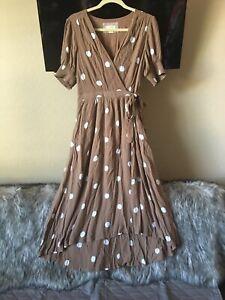 Anthropologie Maeve Dress Size 10 Breanna Brown White Polka Dot Wrap