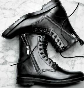 Handmade Men Black Lace Up & Zipper, Black Military Style Ankle Combat Boots