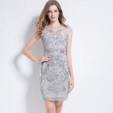 New 1920s vintage gatsby flapper charleston sequins beads grey dress UK S-XXL