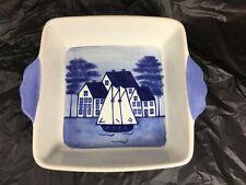 "Shard Pottery VIctoria Rattigan Designs Coastal Sponge Nautical Baking Dish 8"""