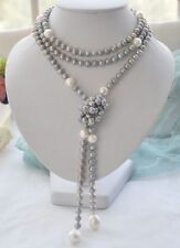 HOT 7-10-12MM NATURAL SOUTH SEA WHITE GRAY PEARL NECKLACE 58''