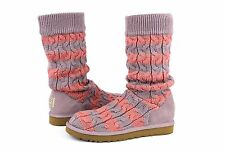 UGG Classic Tall Stripe Cable Knit Boots Dusty Wysteria Seashell Rose Size 10 US