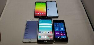 5 cell phone lot. iPhone 6, LG G3, LG G2, Samsung A10e, Nokia Lumia 635. Parts