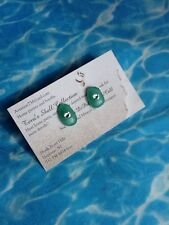 GREEN Surf Tumbled Sea Glass Color Treated Sterling Silver Post Earrings