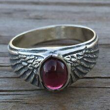 Eagle Wing Ring .925 Sterling Silver Medium Sz 10 w/ Genuine Garnet Gemstone