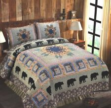 BLACK BEAR FOREST 3pc Full Queen QUILT SET : CABIN MEDLEY LODGE GREEN FLORAL