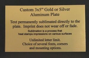 "3x5"" PERSONALIZED GOLD or SILVER NAME PLATE FOR MEMORIAL - TAG - LABEL - PLAQUE"