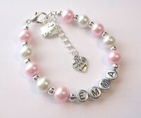 Hello kitty style pink girls personalised bracelet, jewellery  - any name gift!