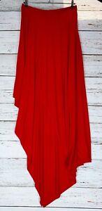 Venus Sz XL Stretch Knit Maxi Dress Red Bodycon One Shoulder Asymmetrical
