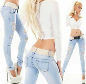 Women's Cut Out Skinny Jeans Slim Fit Rips Light Blue Skinny Belt Included XS-XL