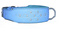 Blue Diamante Stitch Leather Dog Collar Staffy Staffordshire Bull Terrier