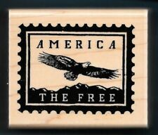 America The Free Eagle Honor Veteran Postage Post words Ctmh wood Rubber Stamp
