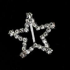Star Rhinestone Buckles Diamante Ribbon Sliders  Embellishment UK 10 Pieces