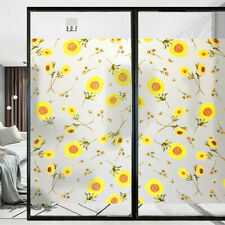 Opaque Frosted Floral Window Films Static Cling Sunflower Stained Glass Stickers