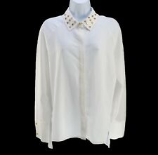 Poleci White Asymmetric Blouse w Gold Studded Collar Semi Sheer LS Medium New
