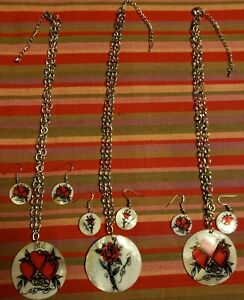 """Ed Hardy Mother of Pearl Shell 18"""" Necklace w Earrings Set lot of 3 roses, heart"""