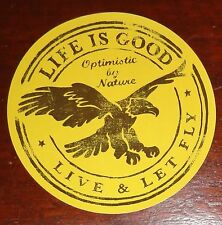 """Life is Good Sticker/Decal Round 4""""  Live & Let Fly Gold/Brown Eagle"""